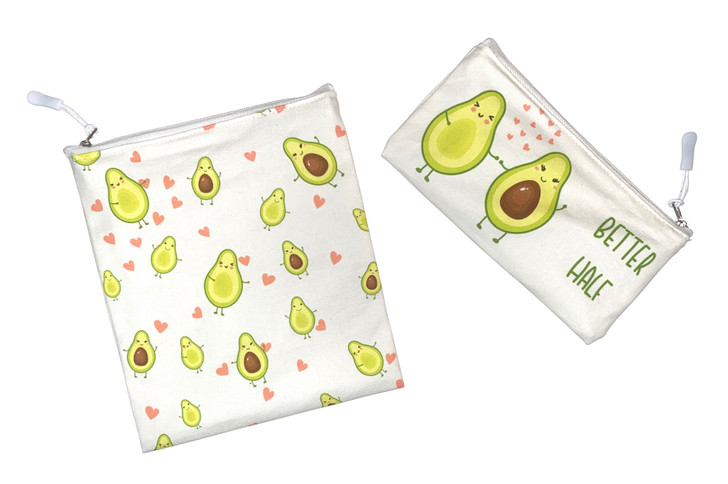 Joey Pouch Reusable Sandwich and Snack Bag 2-Pack - Avocado Love