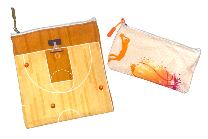 Joey Pouch Reusable Sandwich and Snack Bag 2-Pack - Basketball