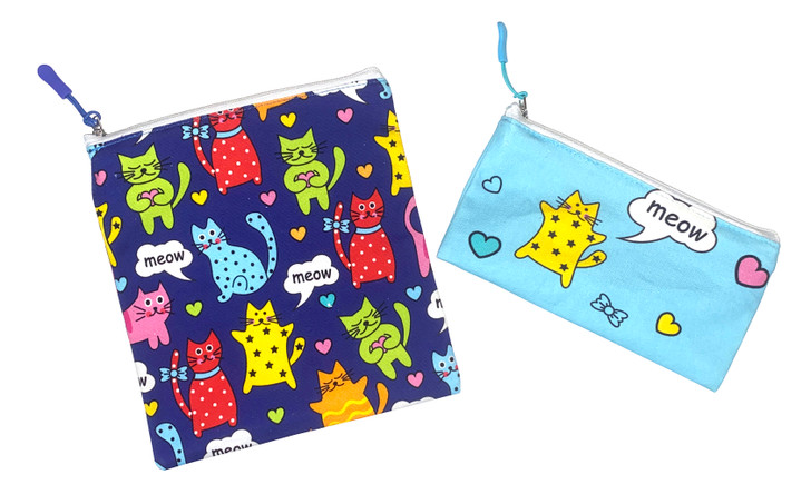 Joey Pouch Reusable Sandwich and Snack Bag 2-Pack - Cat's Meow