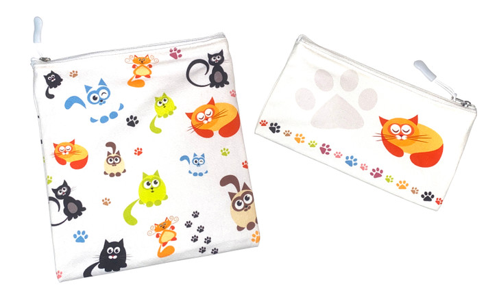 Joey Pouch Reusable Sandwich and Snack Bag 2-Pack - Cats & Paws
