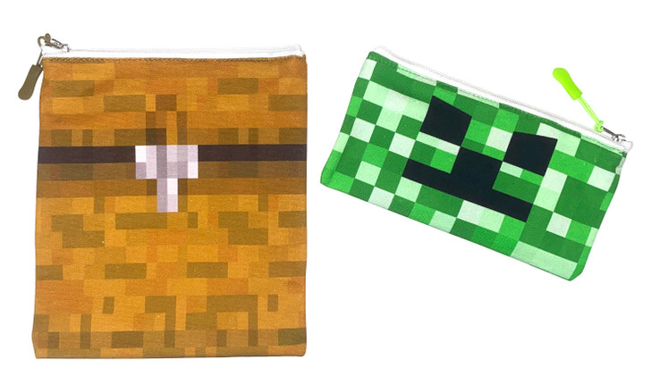 Joey Pouch Reusable Sandwich and Snack Bag 2-Pack -  Pixel Chest & Creeper Combo