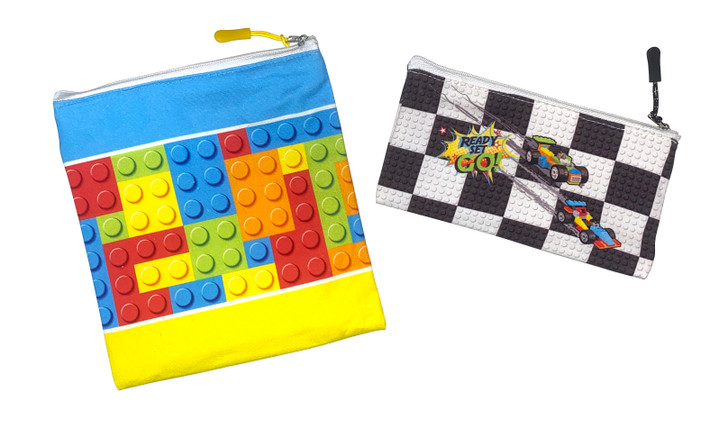 Joey Pouch Reusable Sandwich and Snack Bag 2-Pack -  Building Block