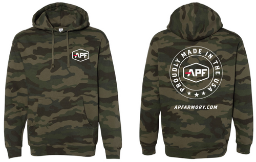 APF Woodland Camo Hooded Pullover Sweatshirt