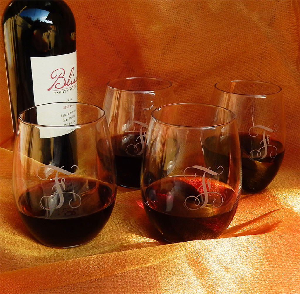 Monogrammed 21oz Stemless Wine Glasses