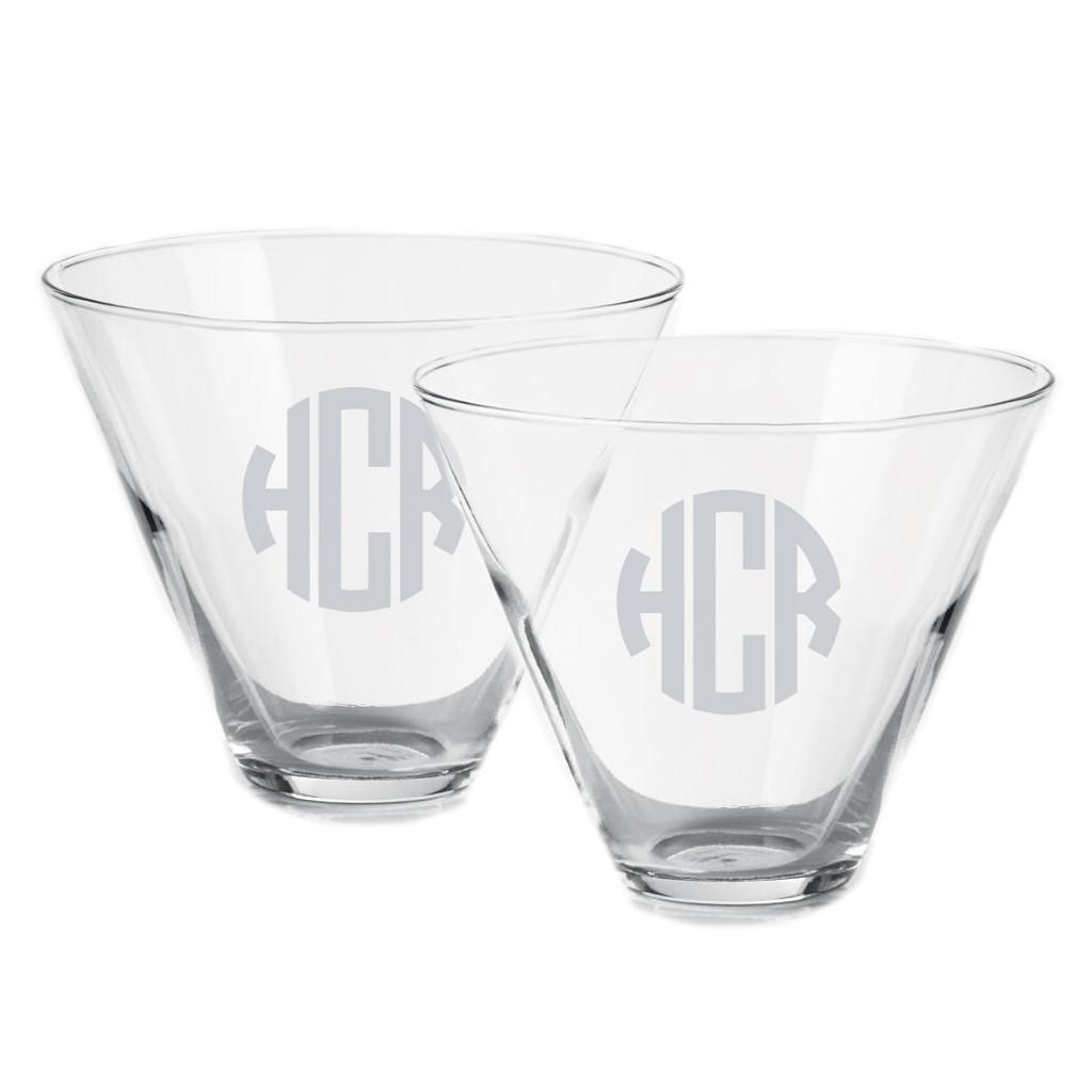 Monogrammed Stemless Martini Glasses, Set of 2