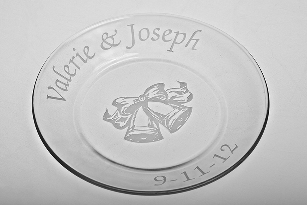 Personalized Wedding Reception Plate - Bells Design