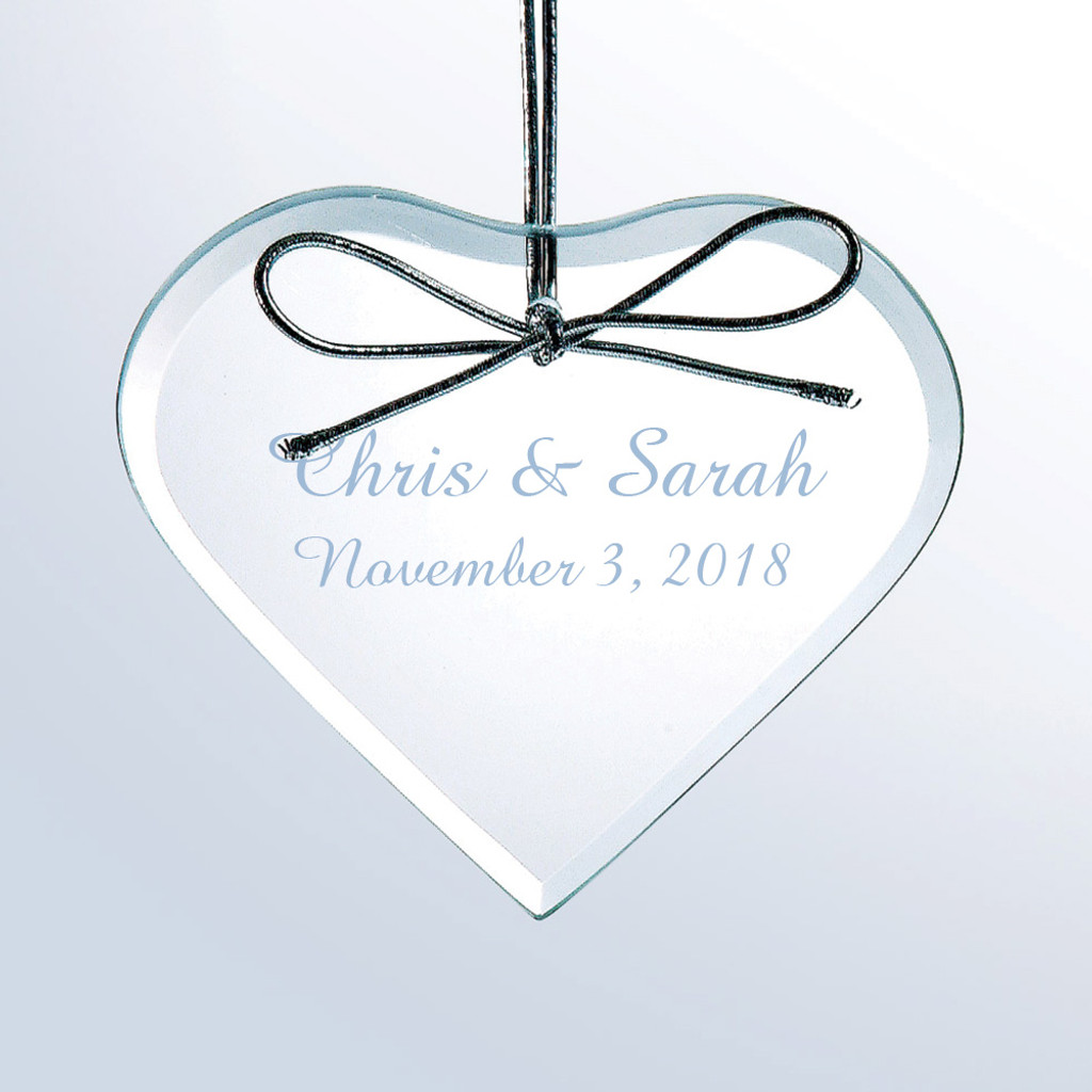 Personalized Flat Heart Glass Ornament