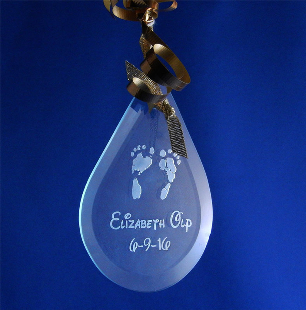 Personalized Newborn Baby Flat Glass Teardrop Ornament