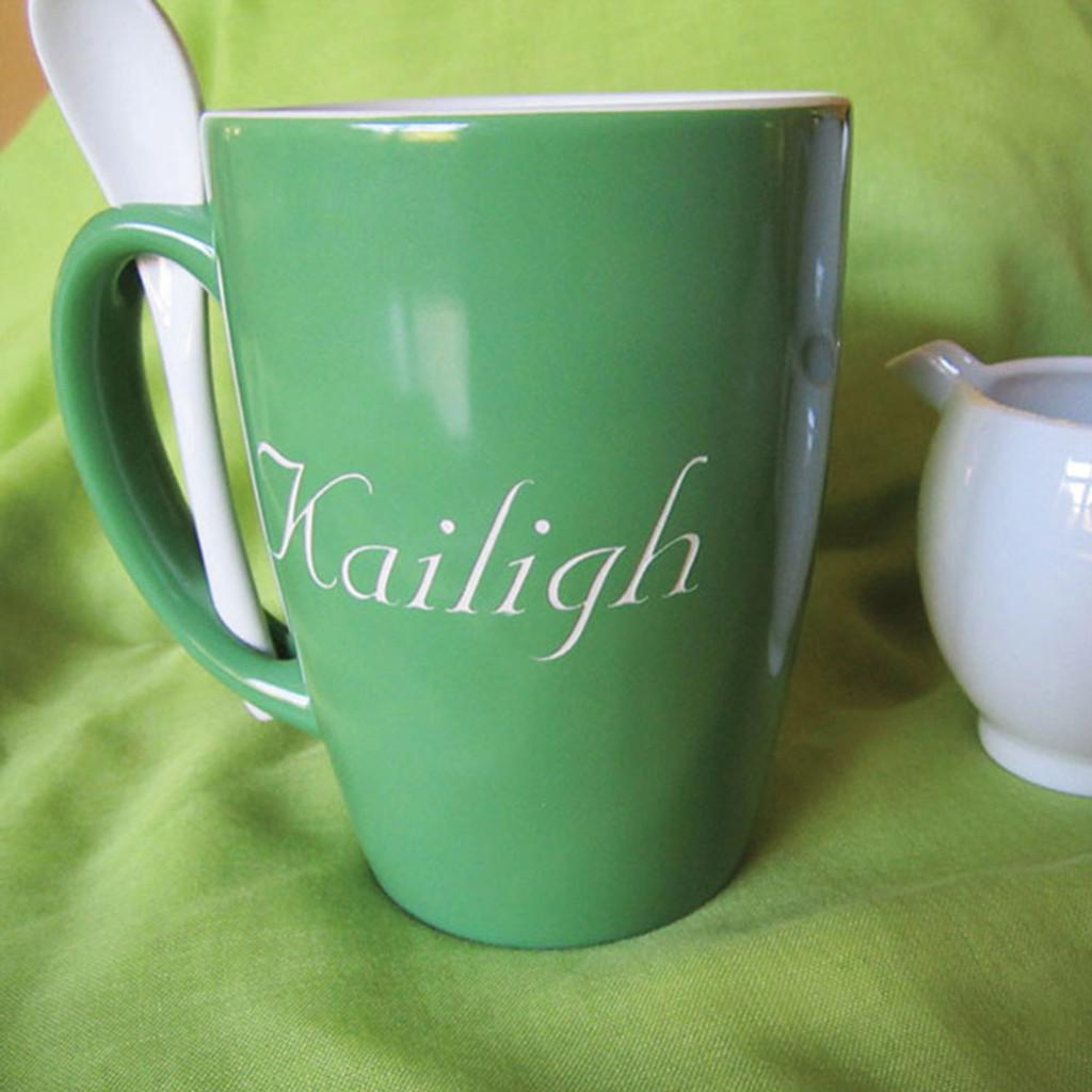 Small Monogrammed Green Ursah Spoon Mug - Nuptial Font