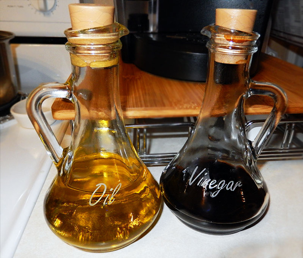 Etched Oil and Vinegar Bottles