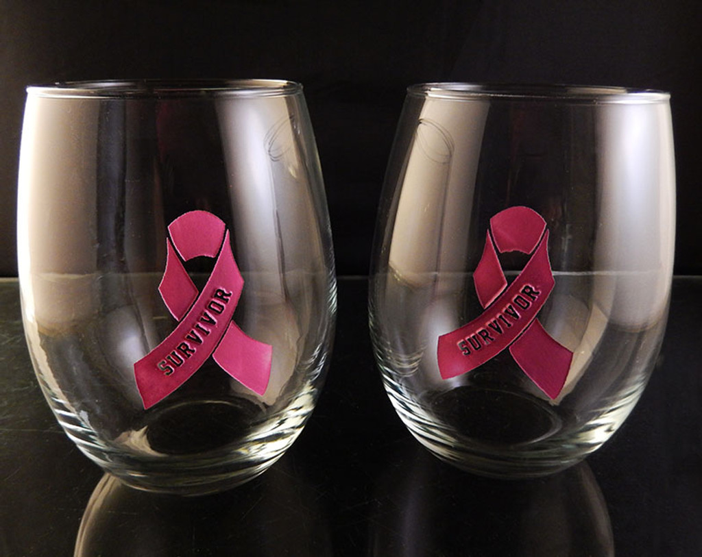 Engraved Hand Painted Breast Cancer Survivor Solid Pink Ribbon 21oz Stemless Wine Glass Pair