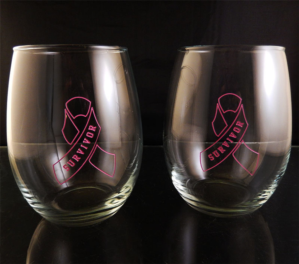 Engraved Hand Painted Breast Cancer Survivor Pink Ribbon Outline 21oz Stemless Wine Glass Pair