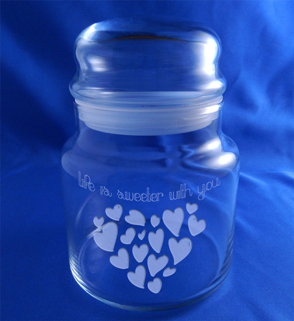 """""""Life is Sweeter With You"""" Valentine's Day Hearts Candy Jar"""