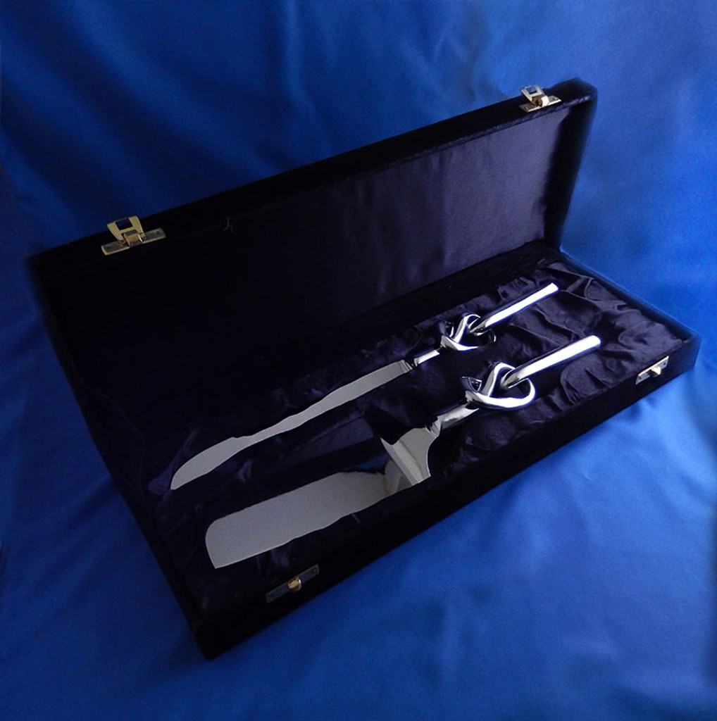 Engravable Tie-The-Knot Aluminum Cake Server Set with Presentation Box