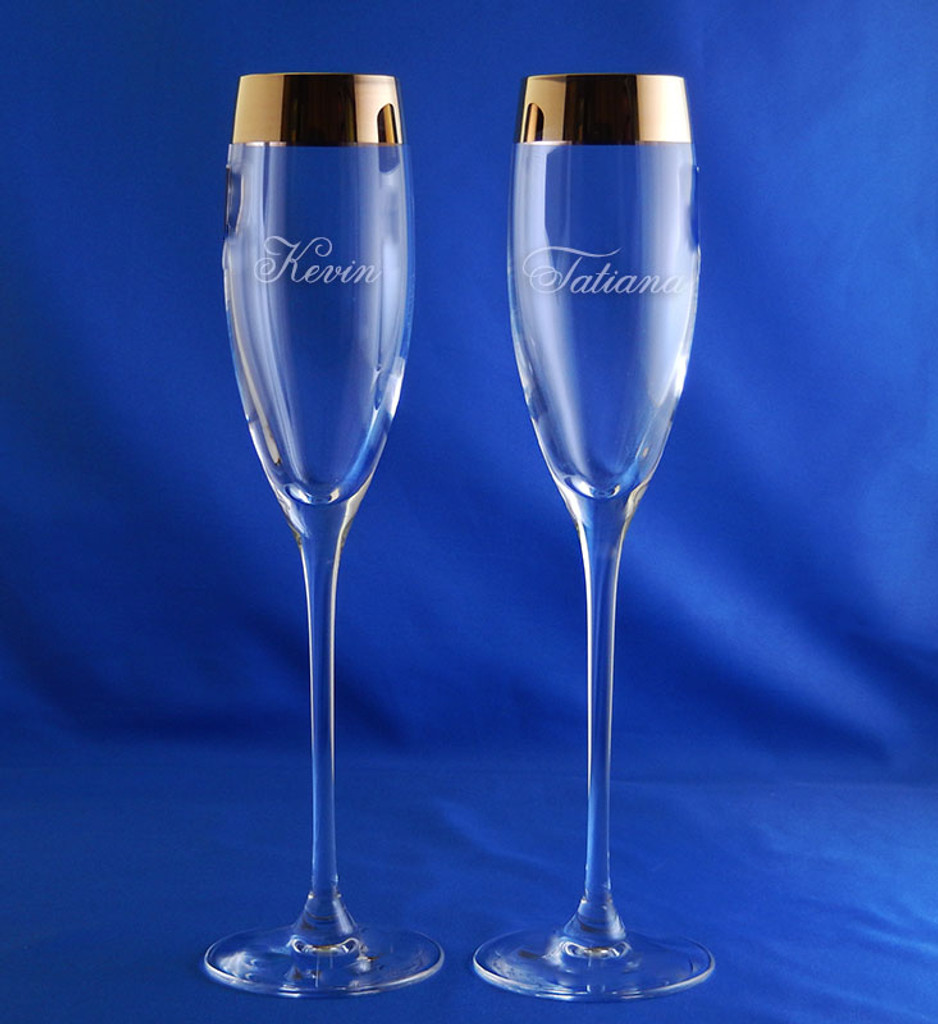 Personalized Crystal Timeless Gold Champagne Flute Pair by Lenox