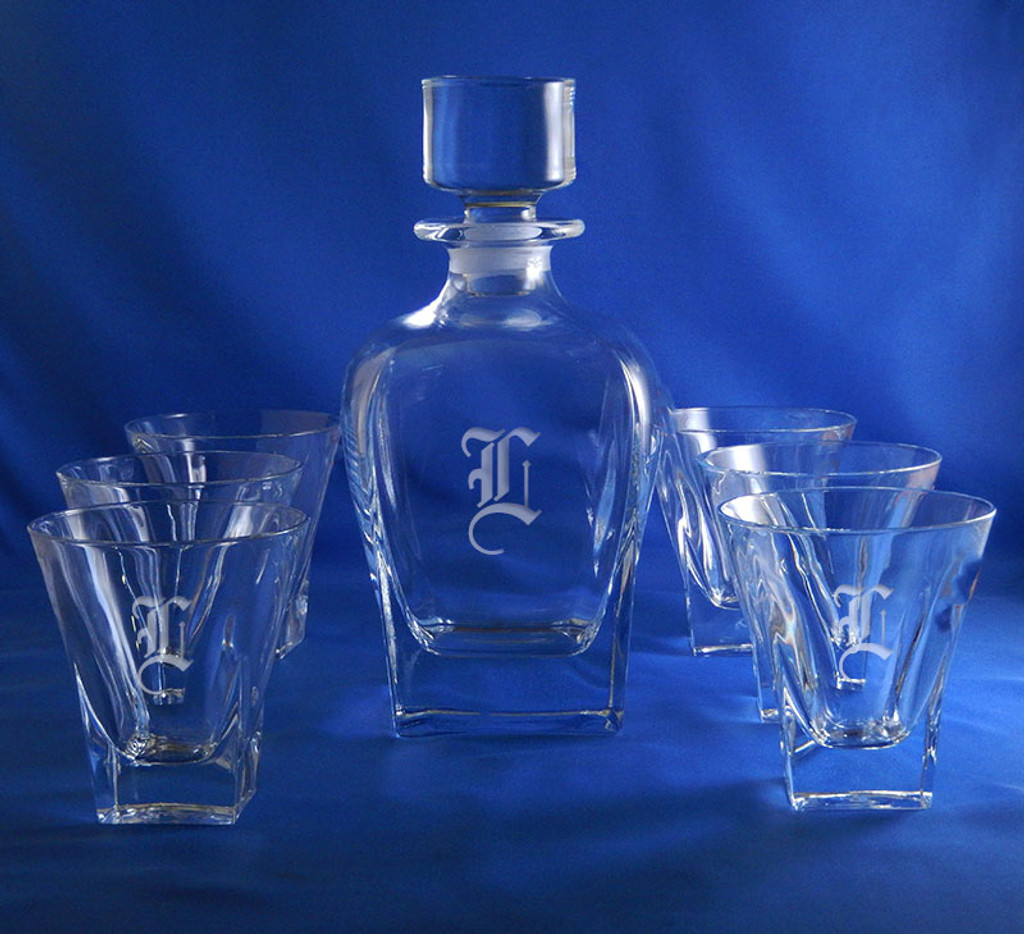 Monogrammed Fusion Whiskey Crystal Decanter Set, 7 pieces