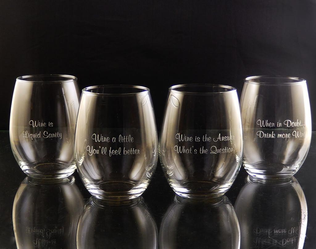 Wineisms Stemless White Wine Glass Set