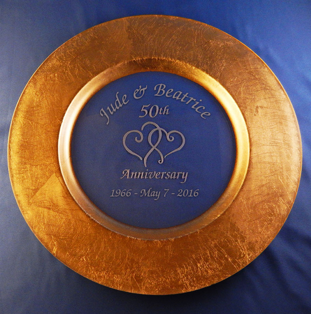 Personalized Gold-Rimmed Anniversary Platter