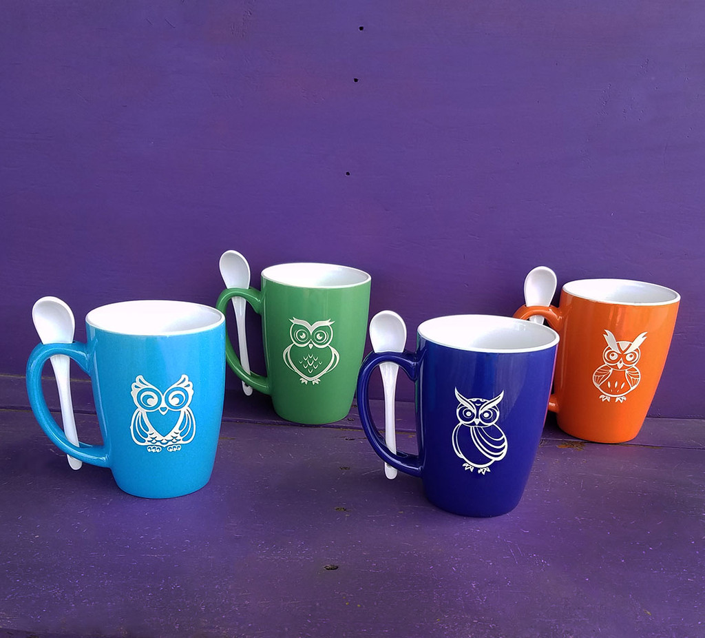 Personalized Colorful Owl Mug Set with Spoons