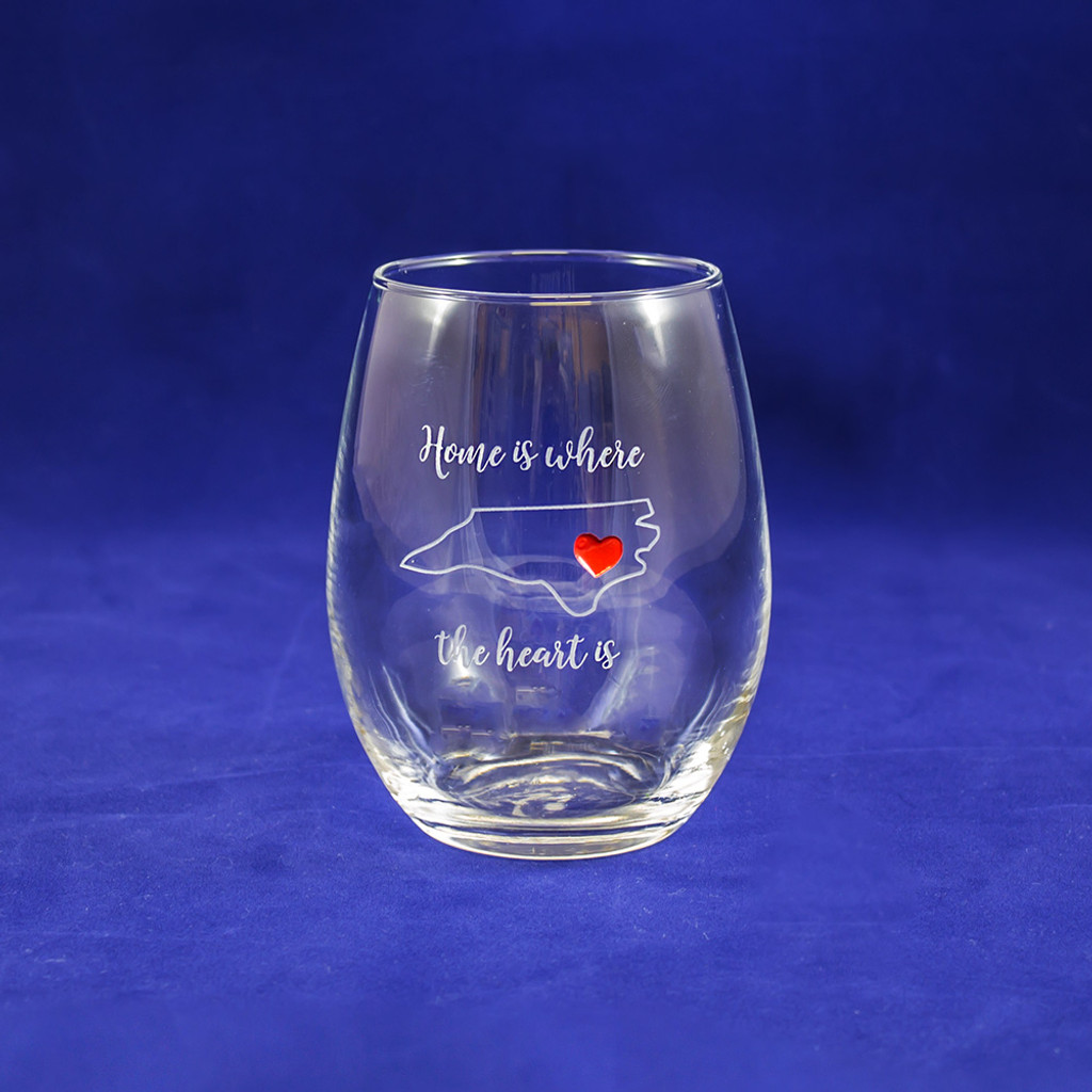 Home is Where the Heart is Stemless Wine Glass