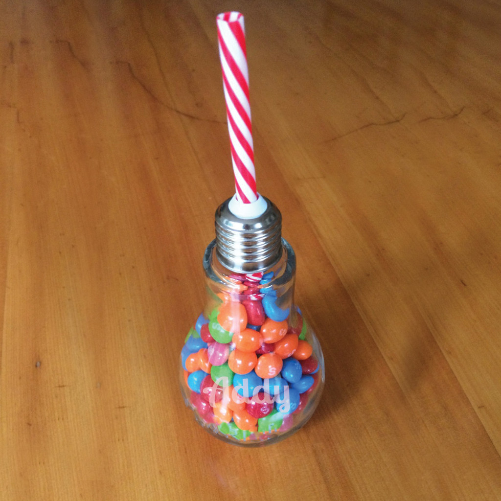 Personalized Lightbulb Glass with Straw