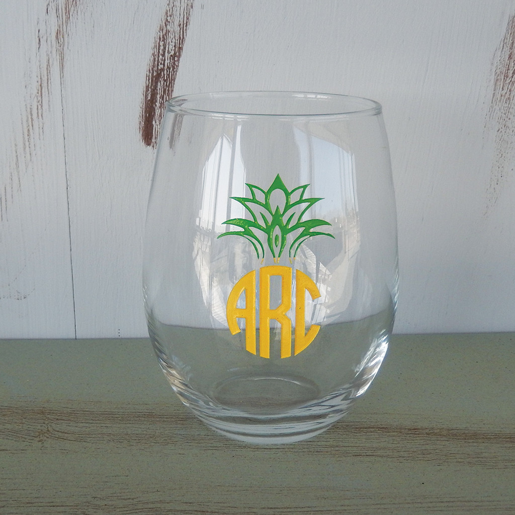 Circle Monogram Pineapple Stemless Wine Glass