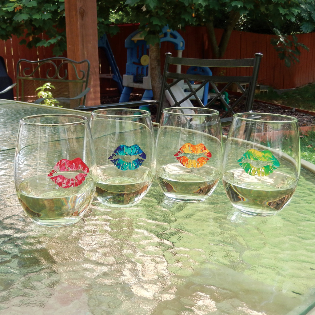 Tie Dye Lips Stemless Wine Glass Collection