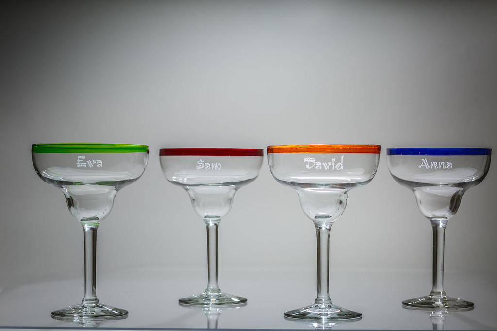 Personalized Colored Margarita Glasses, Set of 4