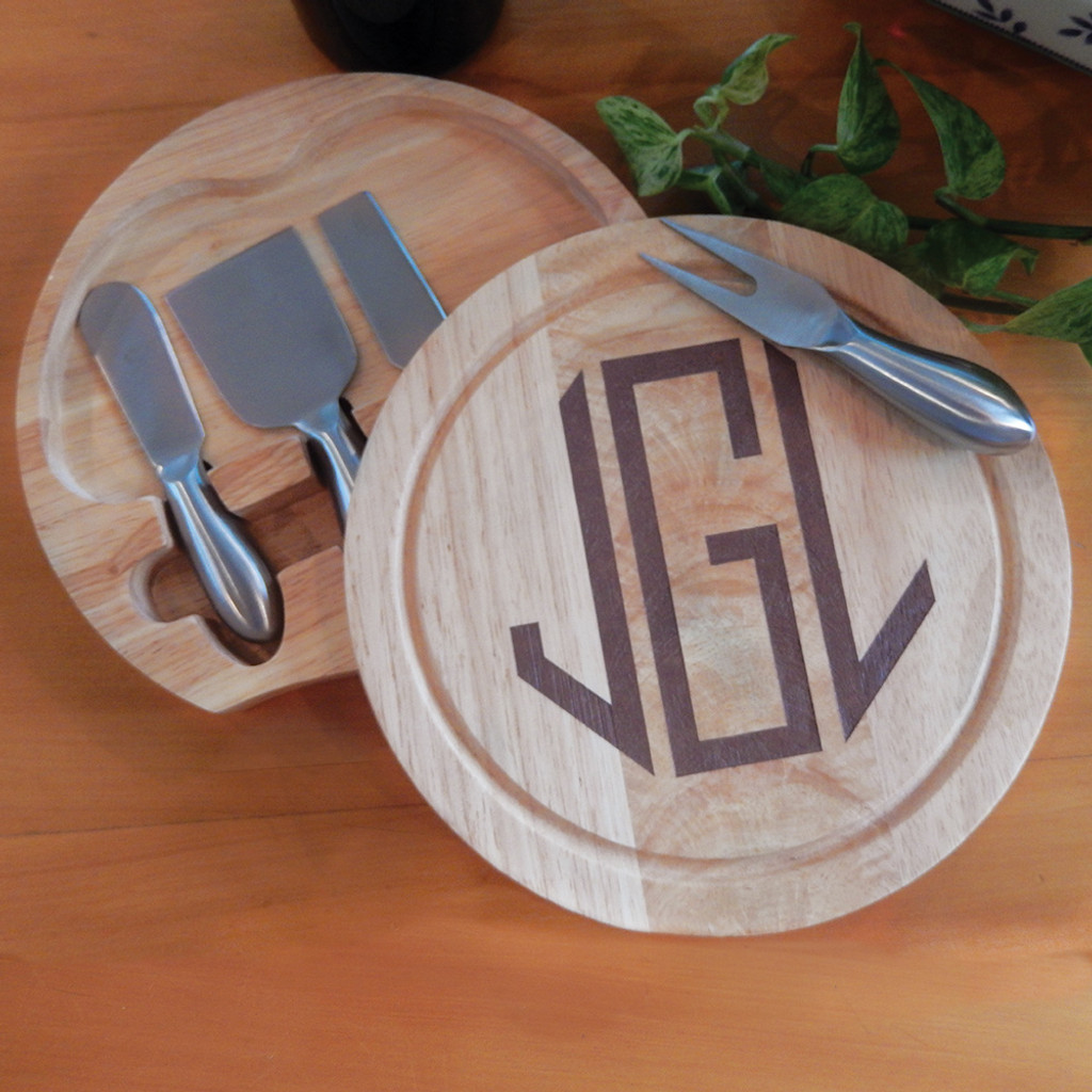 Personalized Round Wooden Cheese Board Set with 4 Metal Utensils