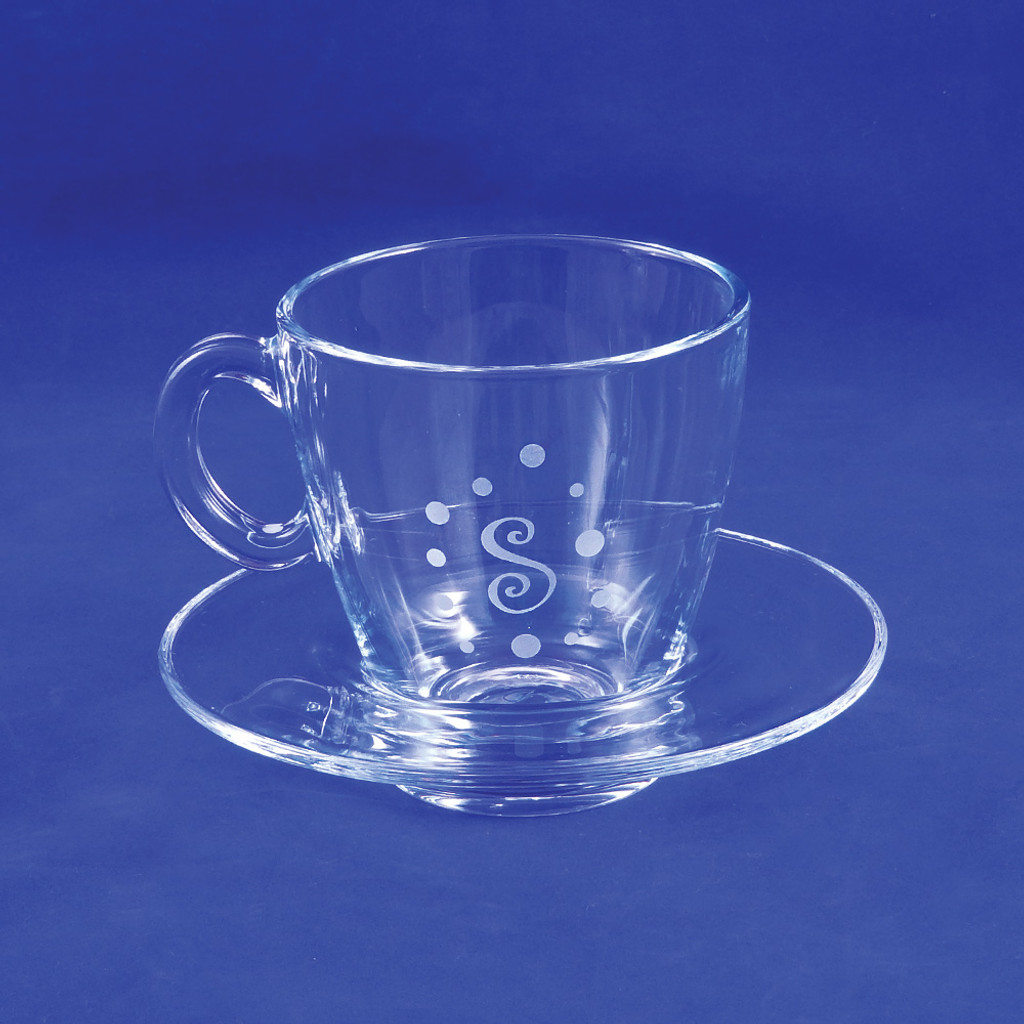 Monogrammed Tea Cup with Saucer