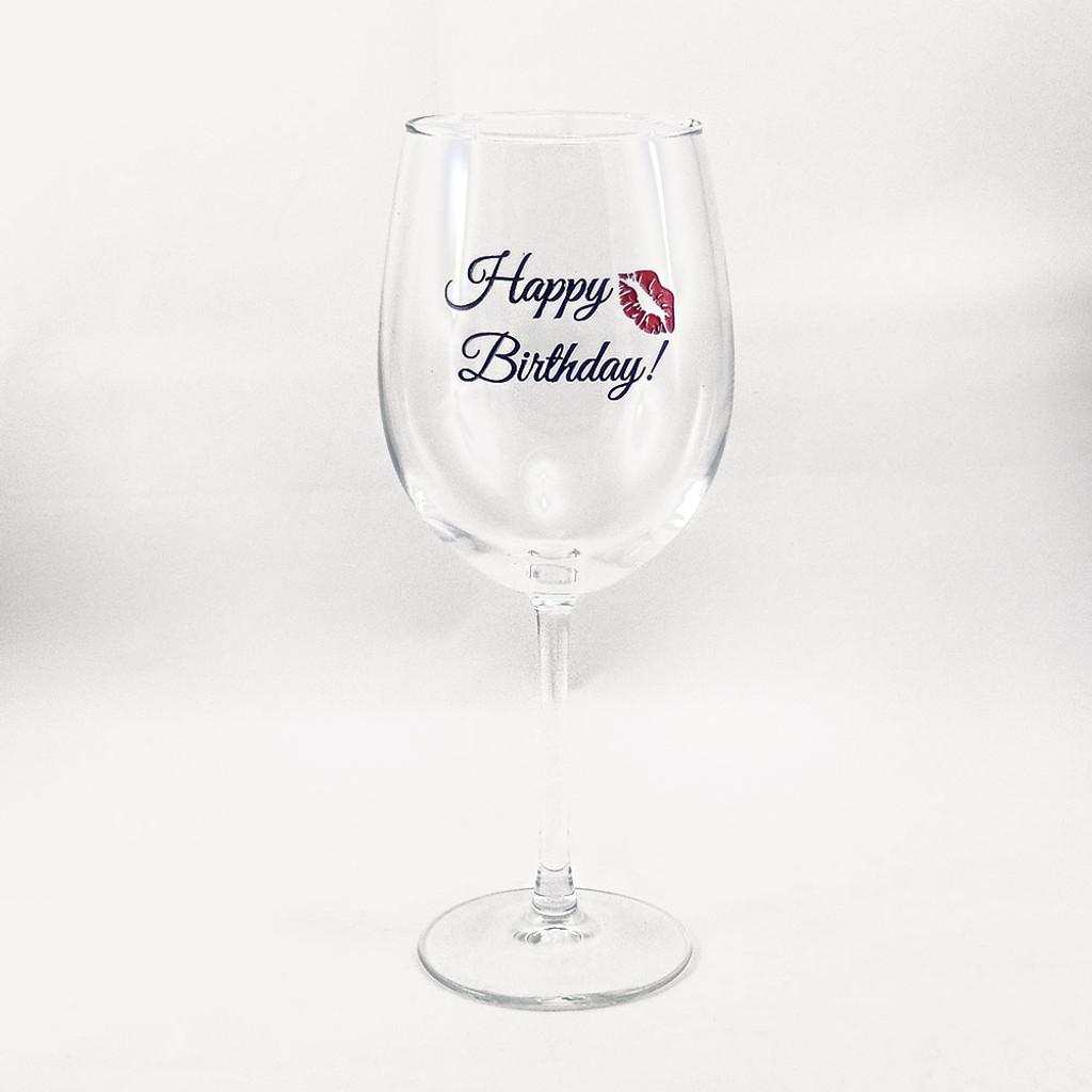 Happy Birthday Wine Glass with a Kiss