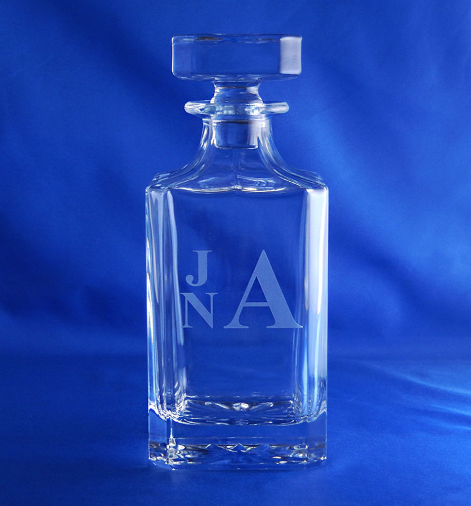 Monogrammed Sunburst Crystal Liquor Decanter