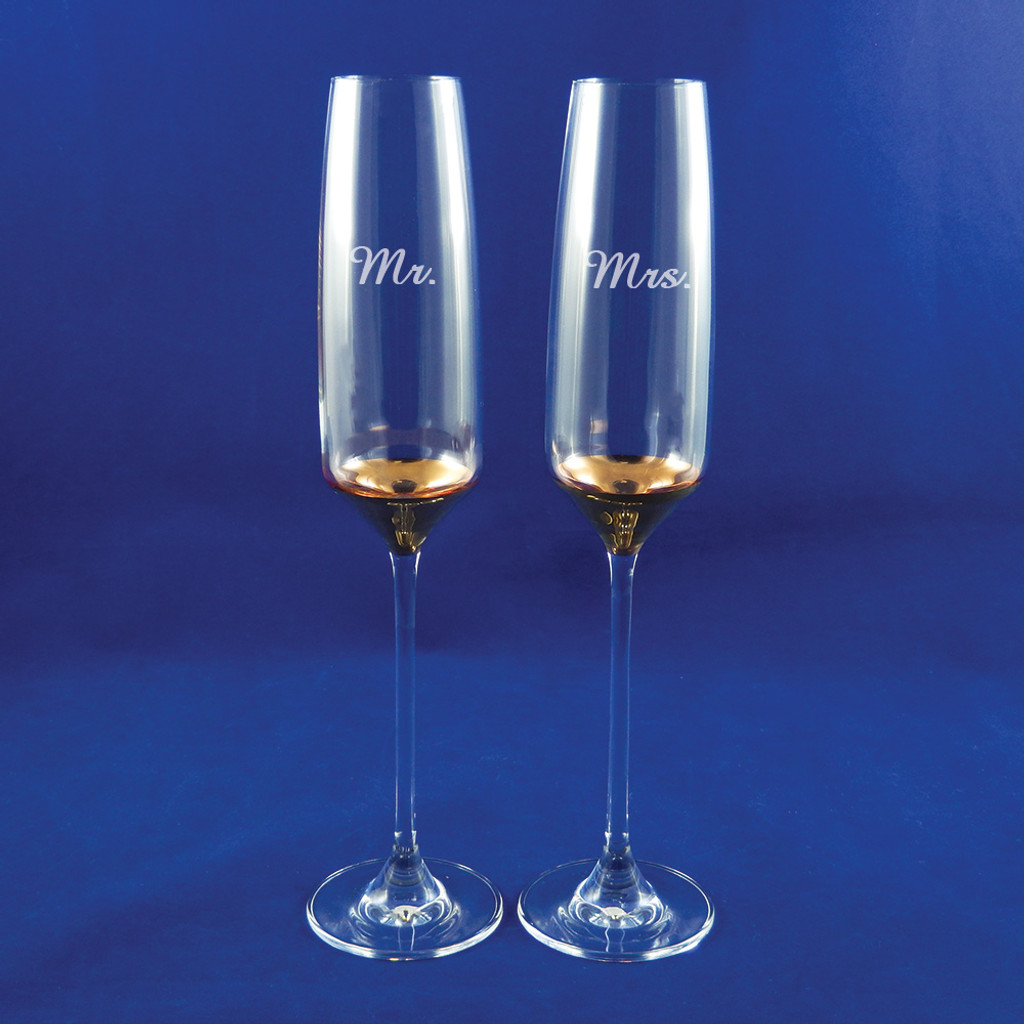 Personalized Gold Champagne Flute Pair by Barski