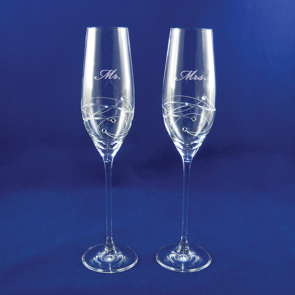 Personalized Sparkle Champagne Flute Pair by Barski