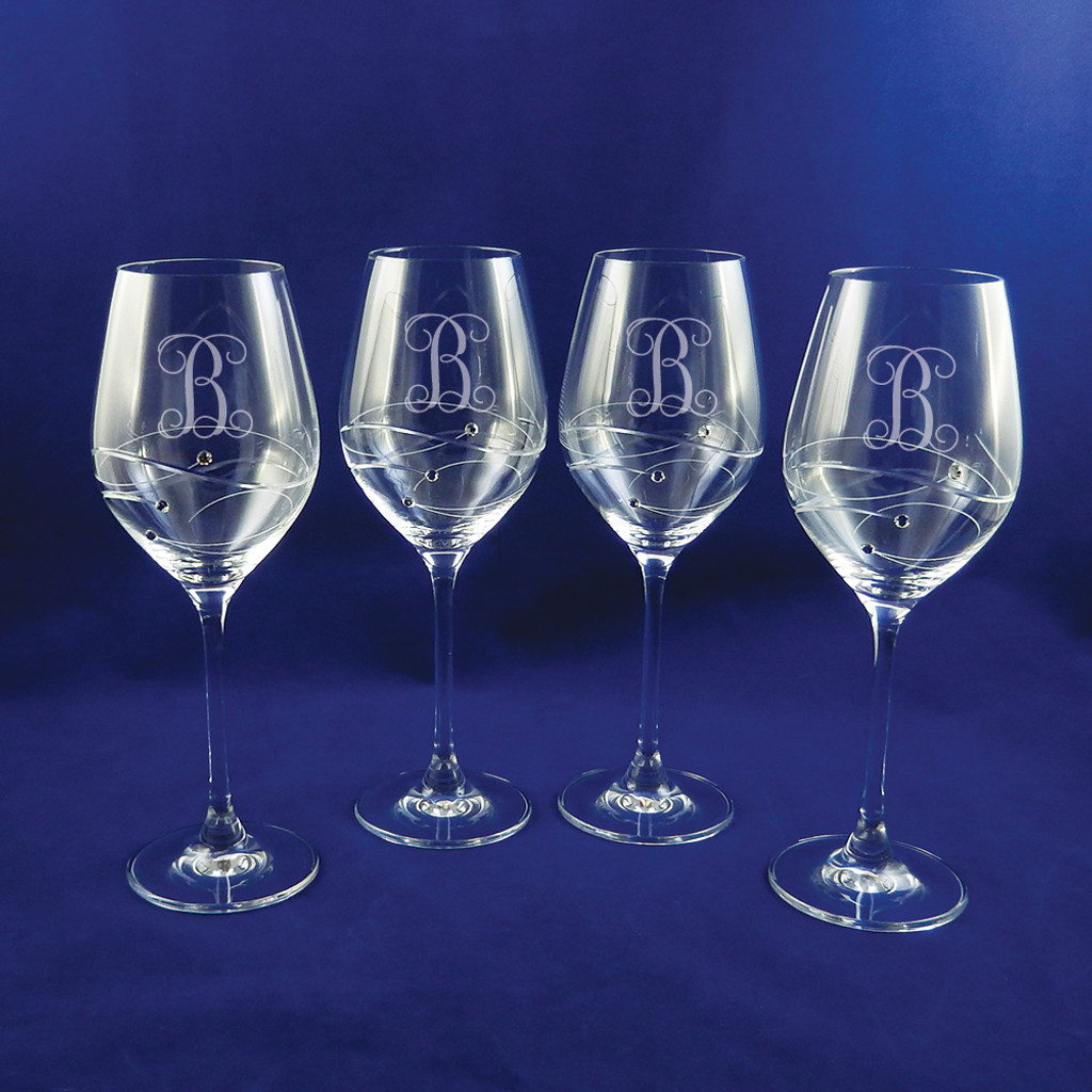 Personalized Sparkle Wine Glasses, Set of 4 by Barski