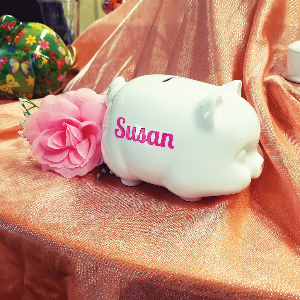 Personalized Porcelain Piggy Bank side