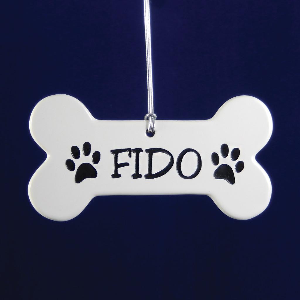 Personalized Porcelain Dog Bone Ornament