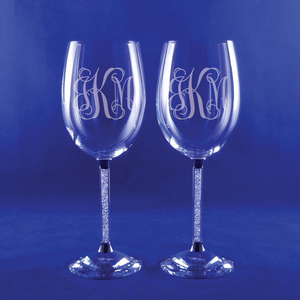 Personalized Clear Diamond Wine Goblets Set Of 2 By Oleg Cassini