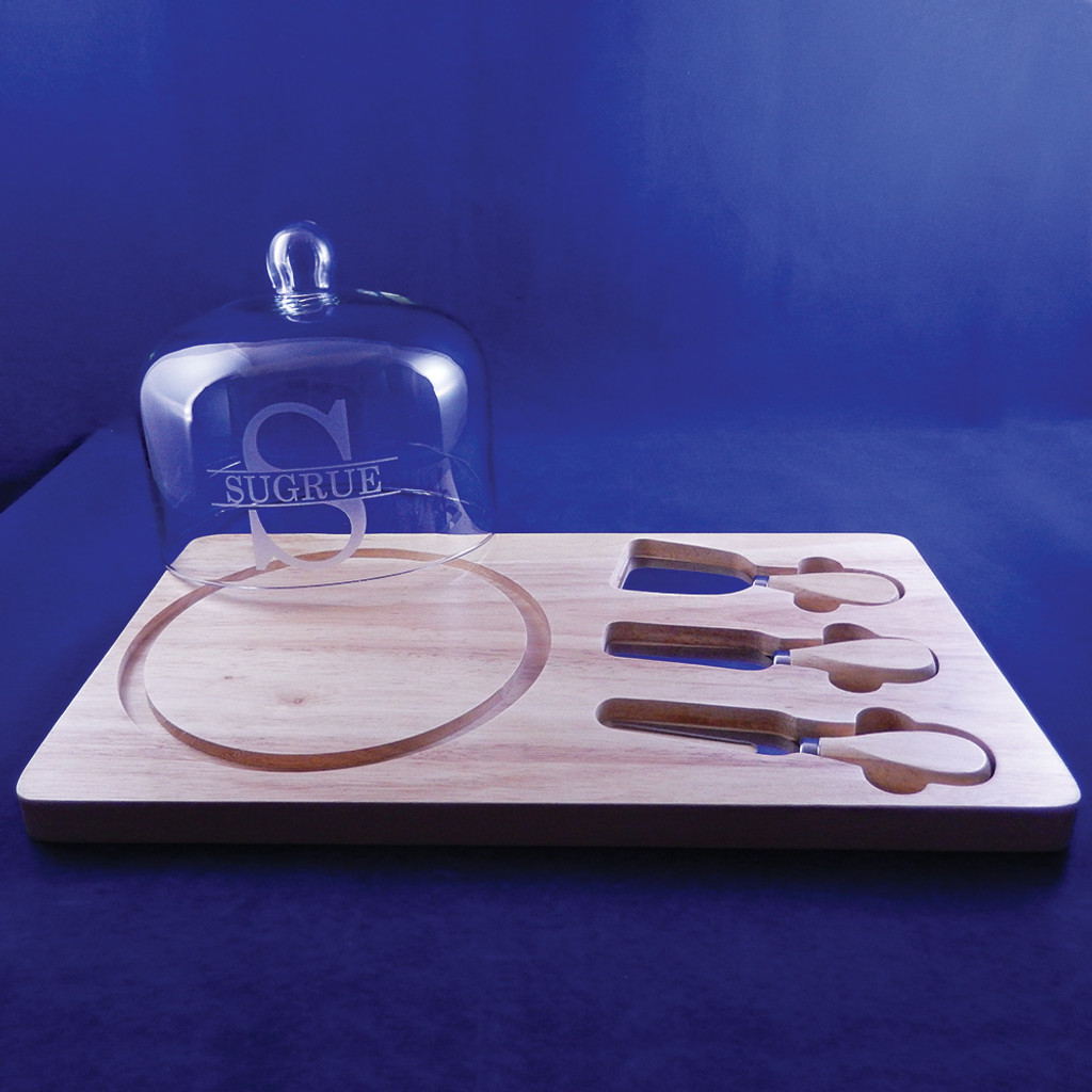 Personalized Dome & Wooden Cheeseboard Set with utensils