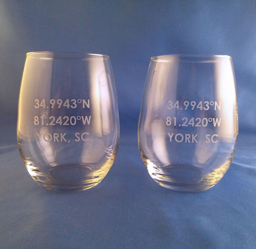 Personalized Coordinate Stemless Wine Glasses