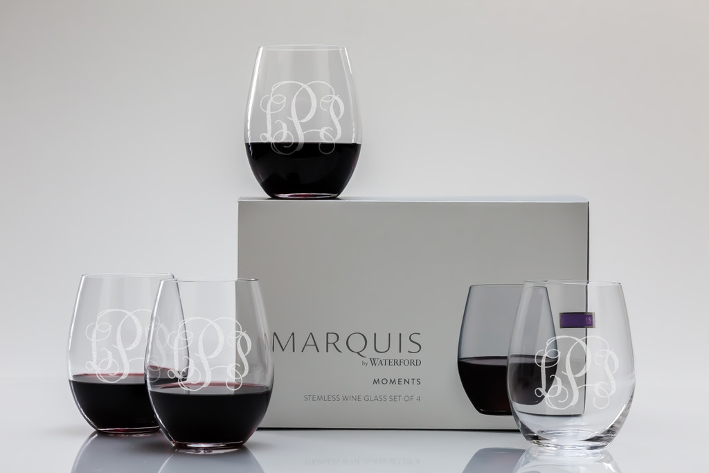 Personalized Marquis Moments stemless wine set (set of 4)