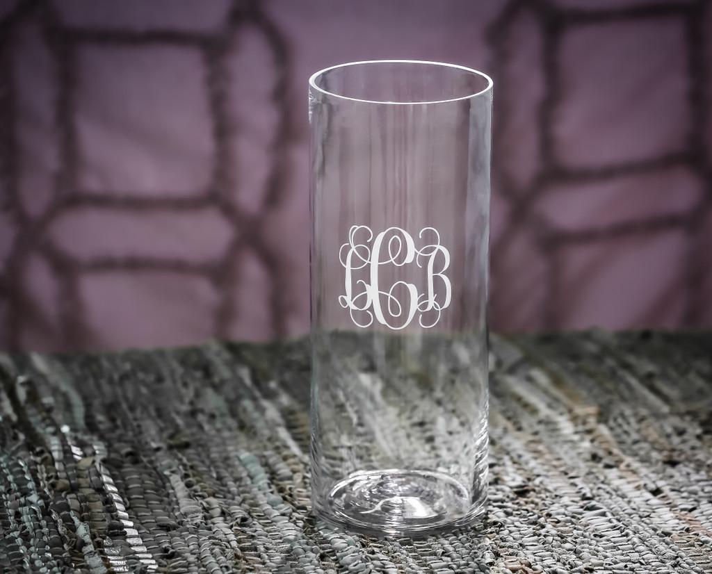 Personalized Rhododendron Cylinder Vase, Engraved Pillar Candle Holder, Etched Flower Vase, Monogrammed Trophy Vase