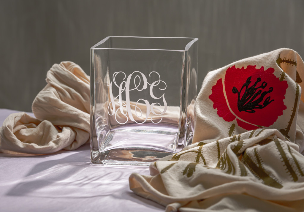 Monogrammed St. Denis Square Vase, Personalized Wedding Gift, Etched Bridesmaids Gift, Engraved Flower Vase
