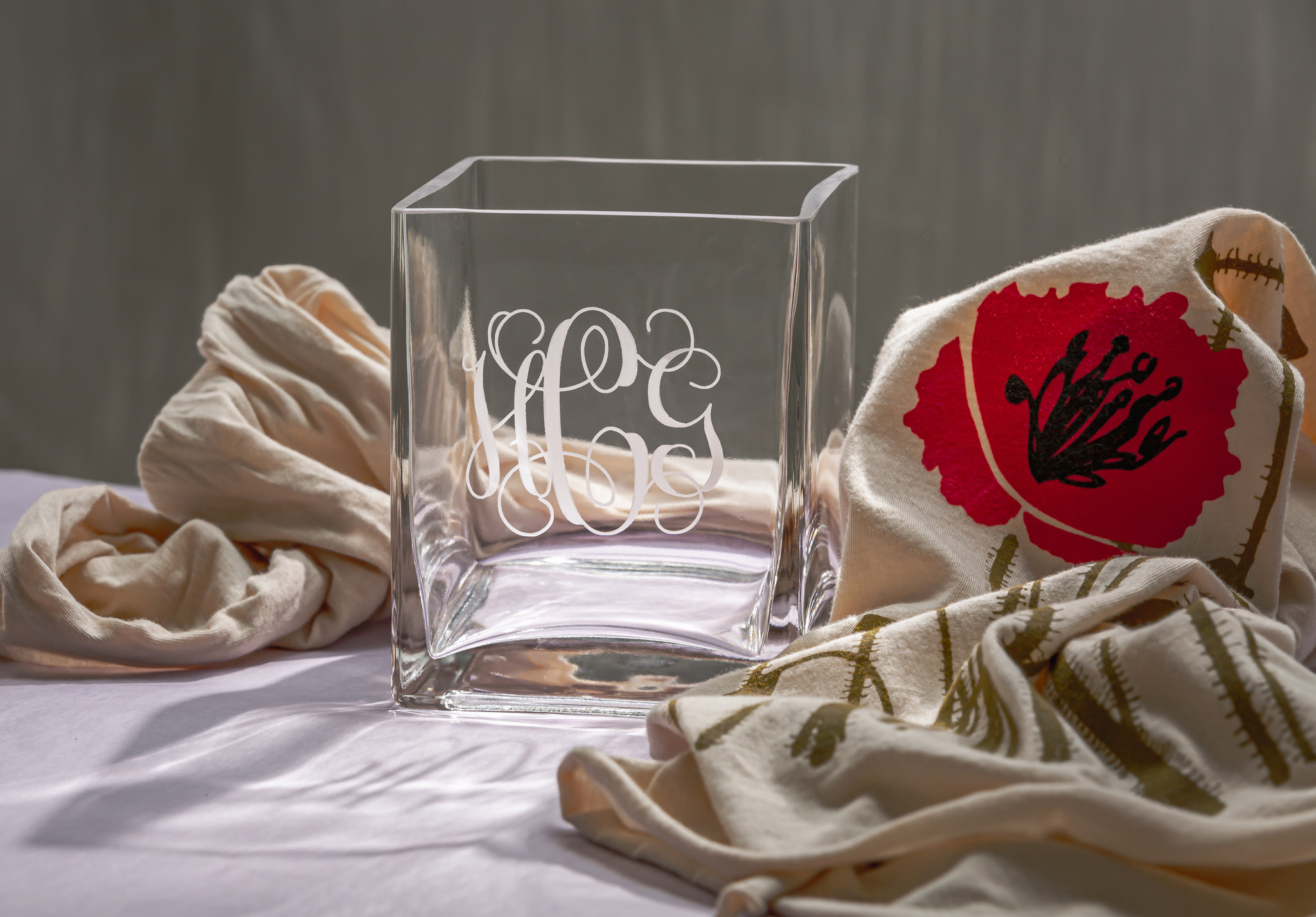 Monogrammed St Denis Square Vase Personalized Wedding Gift Etched Bridesmaids Gift Engraved Flower Vase The Crystal Shoppe