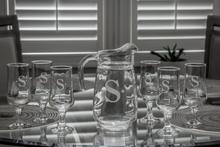 Monogrammed Ocean Isle Pitcher & Glasses Set, 7 Pieces