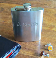 Personalized Brushed Stainless Steel Flask