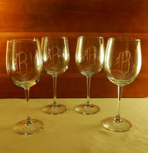 Personalized Barlo 16oz. White Wine Glasses, Set of 4