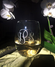 21oz Stemless Wine Monogrammed with Interlocking Script font