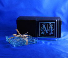 Monogrammed Square Glass Coasters, Set of 4