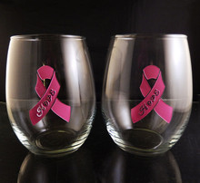 Engraved Hand Painted Breast Cancer Hope Solid Pink Ribbon 21oz Stemless Wine Glass Pair